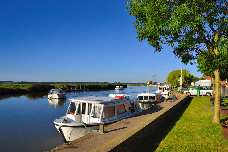Boats Moored on the River Yare at Reedham