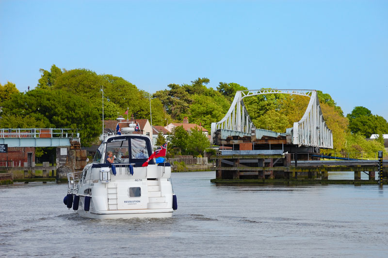 A Cruiser Approaching Reedham Swing Bridge