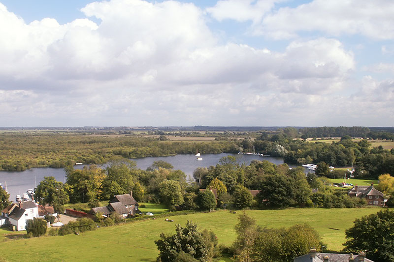 The View over Malthouse Broad from Ranworth Church
