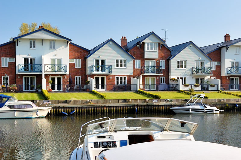 Modern Housing Overlooking the Staithe at Loddon