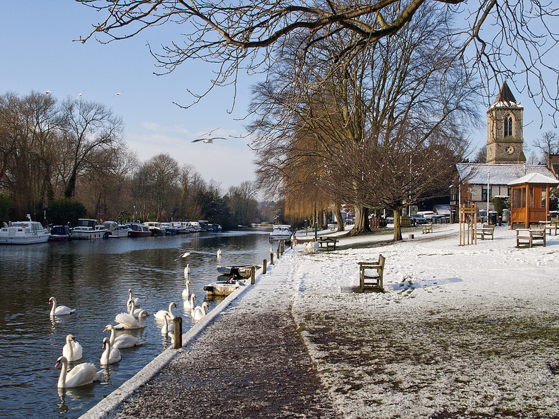 Thorpe River Green in Winter by Gerry Balding