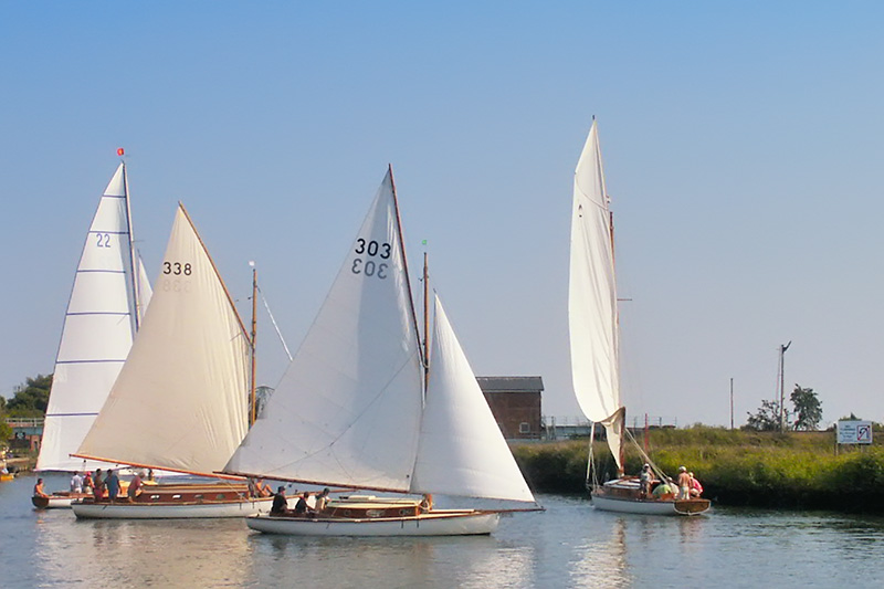 Yachts Competing in the Yare Navigation Race at Reedham