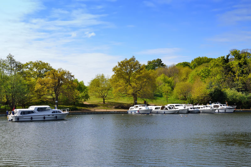 Boats Moored at Salhouse Broad