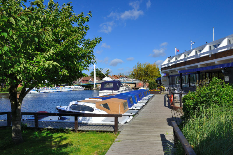The Hotel Wroxham beside the River Bure at Wroxham